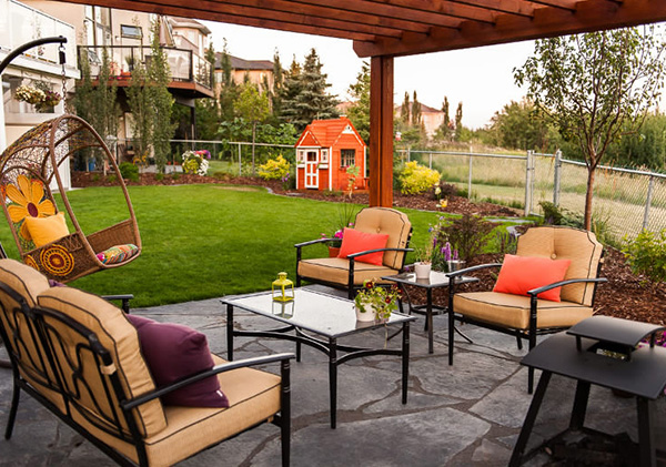 Calgary landscape design with patio and a country feel